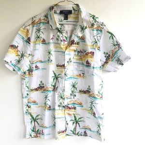 Forever 21 Hawaiian Button Down Shirt Large